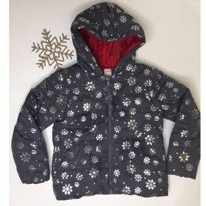Gymboree Gray Jacket with Silver Snowflakes - Y7/8